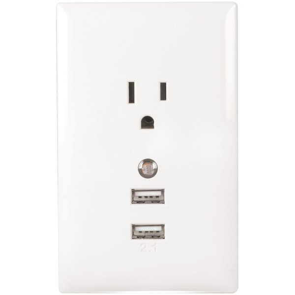 Audiovox Corporation WP2UNLW RCA USB Wall Plate Charger and Nightlight