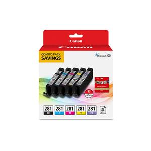CANON USA 2091C006 CLI-281 BKCMYPB/20 SHEETS 5X5 COMBO PACK